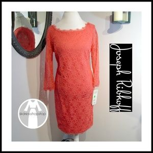 Joseph Ribkoff // Coral Lace Dress // 3/4 Sleeved
